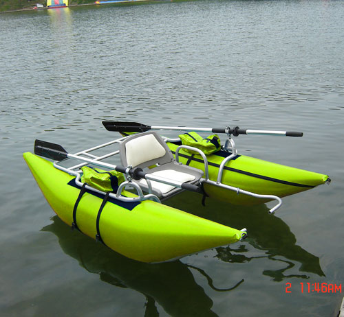 pontoon boat and inflatable boat